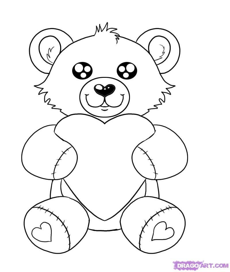 How to draw a valentines day heart bear step by step for Valentine bear coloring pages