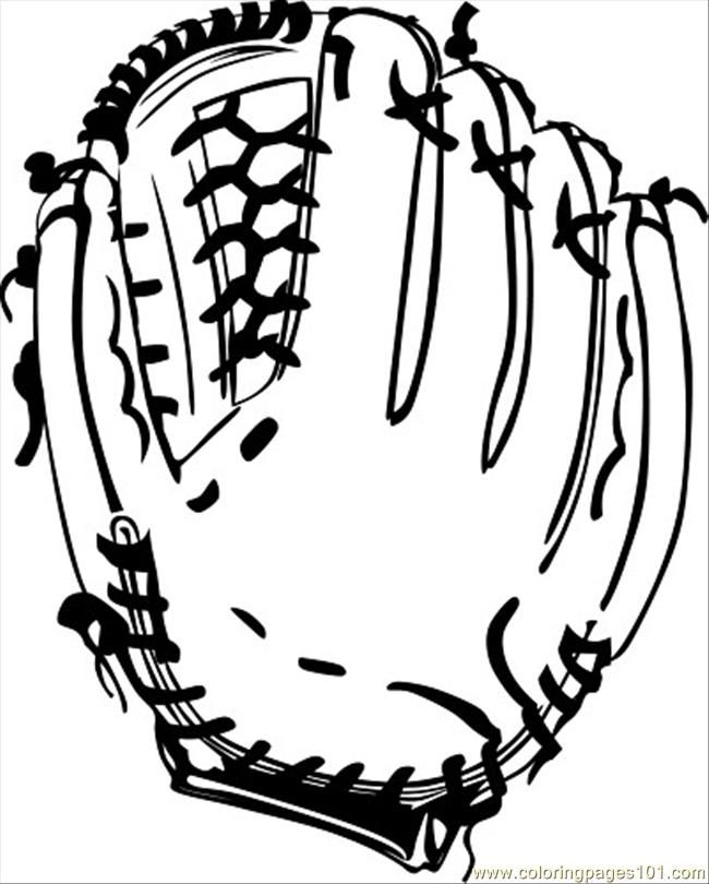 printable coloring page baseball glove bw ganson sports