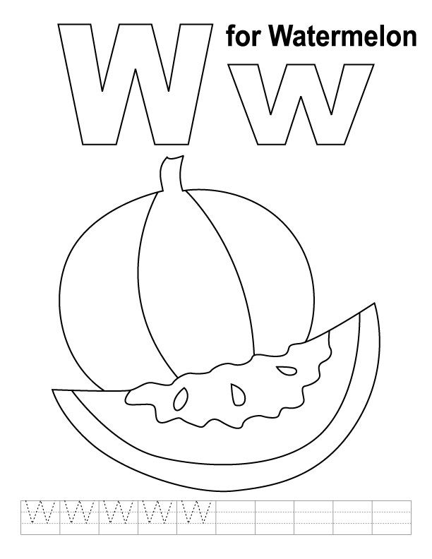 W for watermelon coloring page with handwriting practice