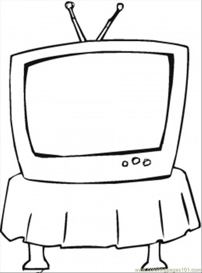 free printable coloring page Tv On The Table | coloring pages
