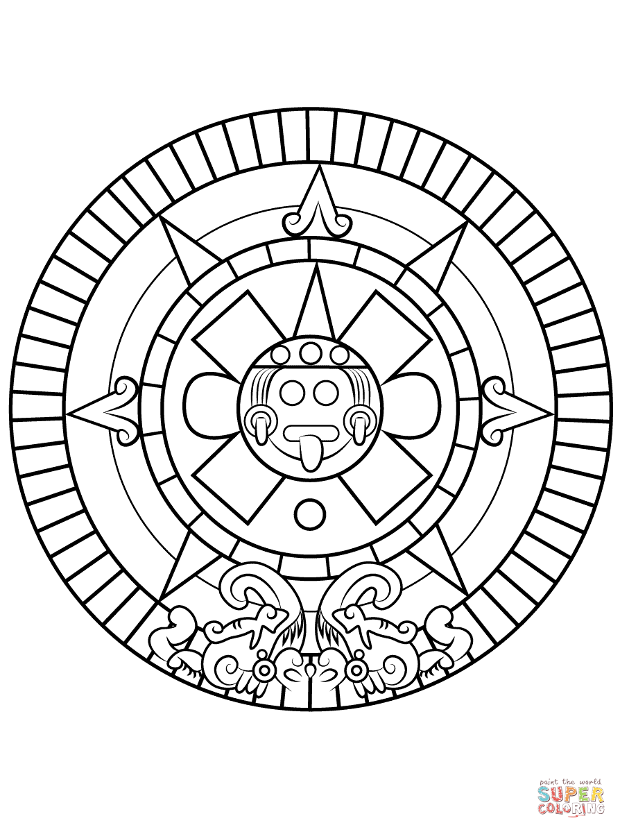 aztec sun stone coloring page free printable coloring pages