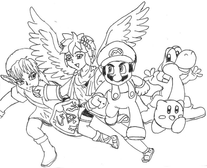 Super Smash Bros Coloring Pages Annexhub Coloring Home
