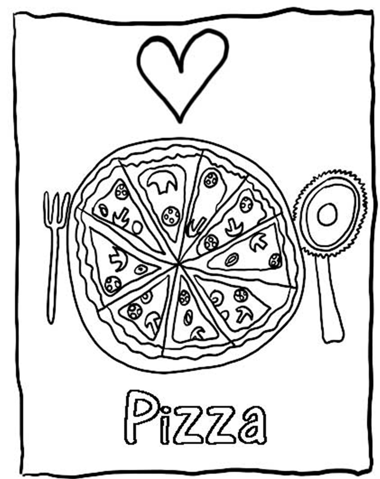 Pizza coloring sheet coloring home for Coloring pages of pizza