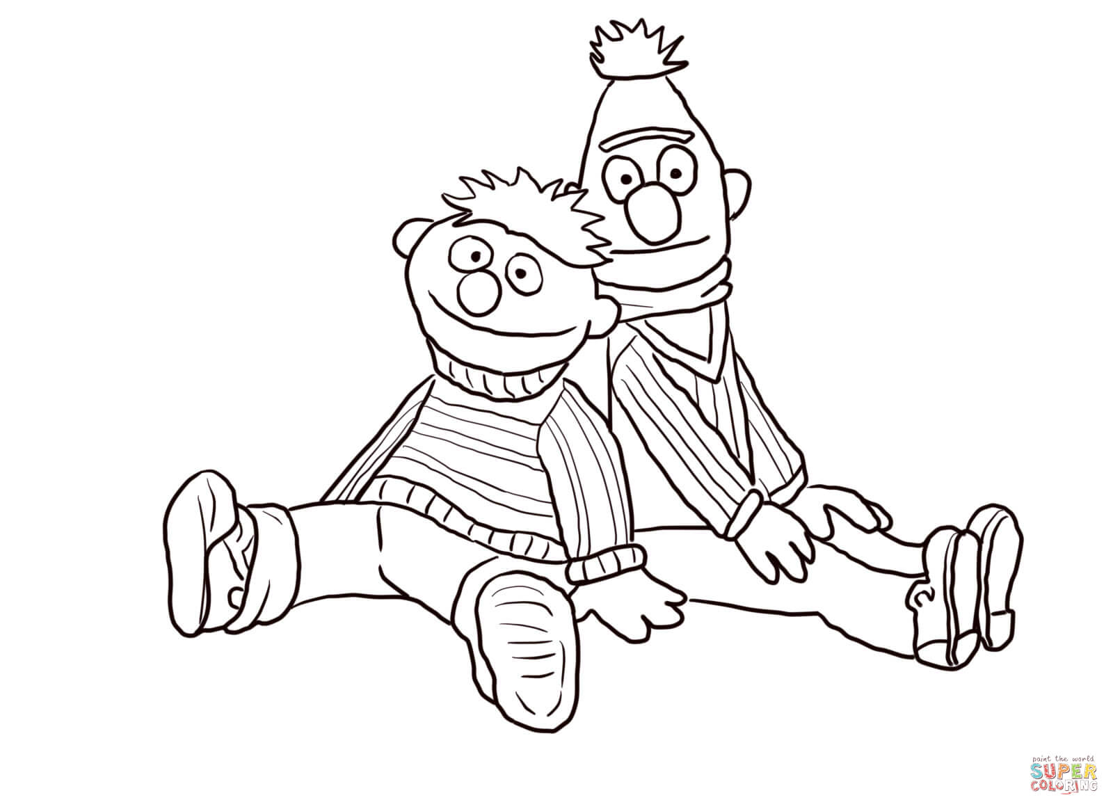 Bert and Ernie Sitting and Leaning coloring page | Free Printable ...