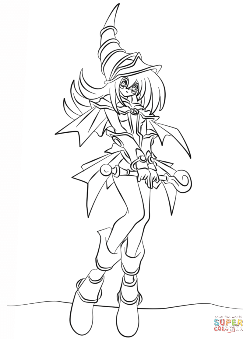 dark magician girl from yu gi oh coloring page free printable