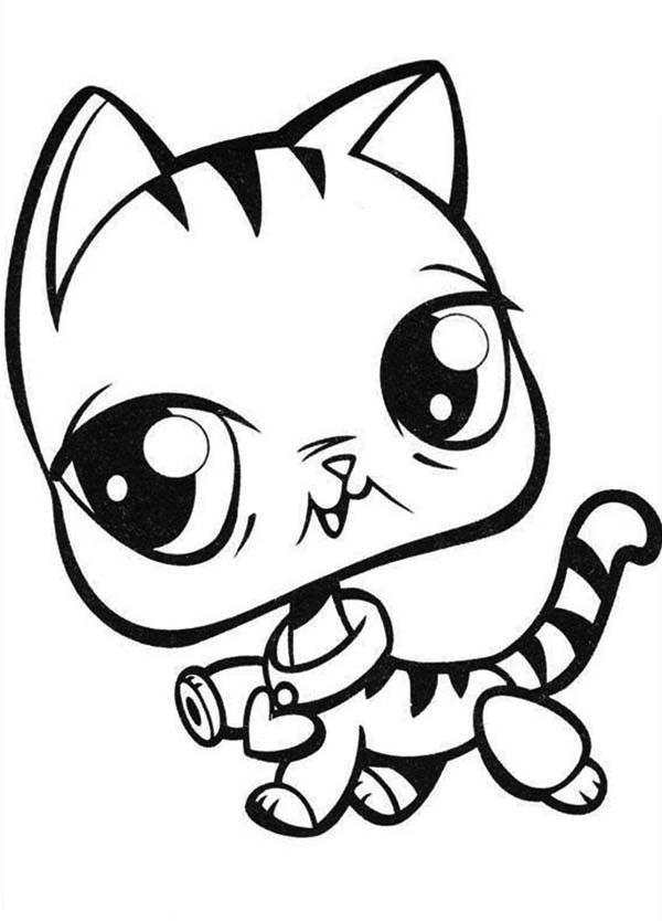 Little Pet Shop Cat With Love Necklace Coloring Pages