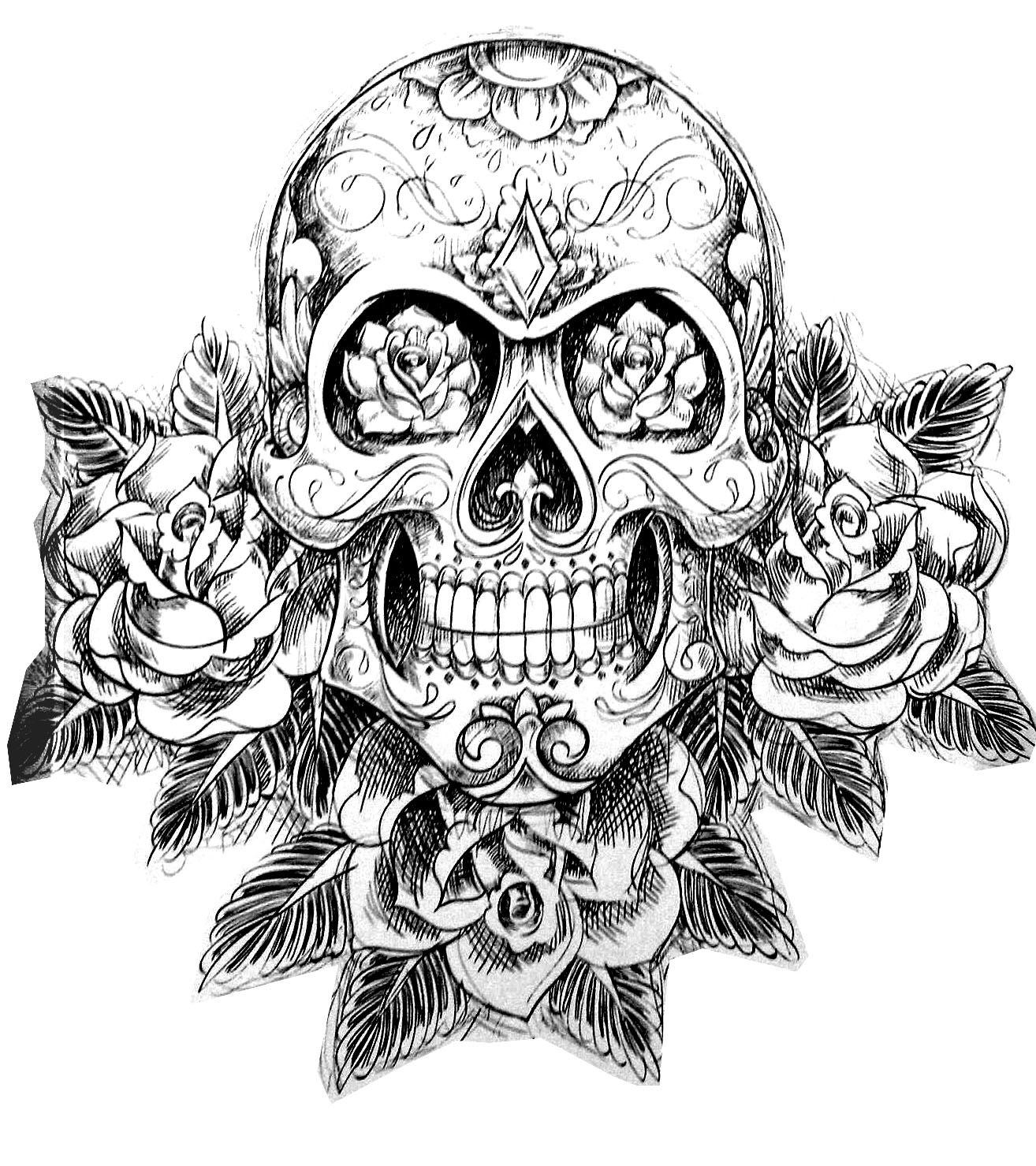coloring pages printable skulls coloring home