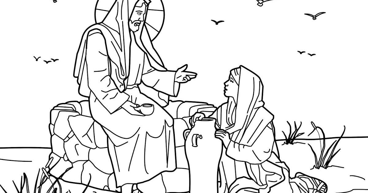 Woman At Well Coloring Page - Coloring Page