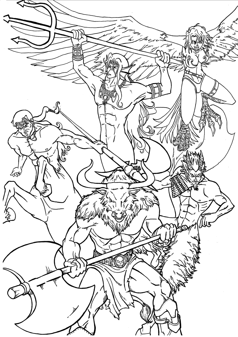 Greek mythology coloring page coloring pages for kids for Mythical coloring pages for adults