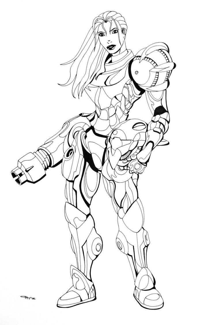 Coloring Pages Samus Coloring Pages samus coloring page az pages metroid sketch page