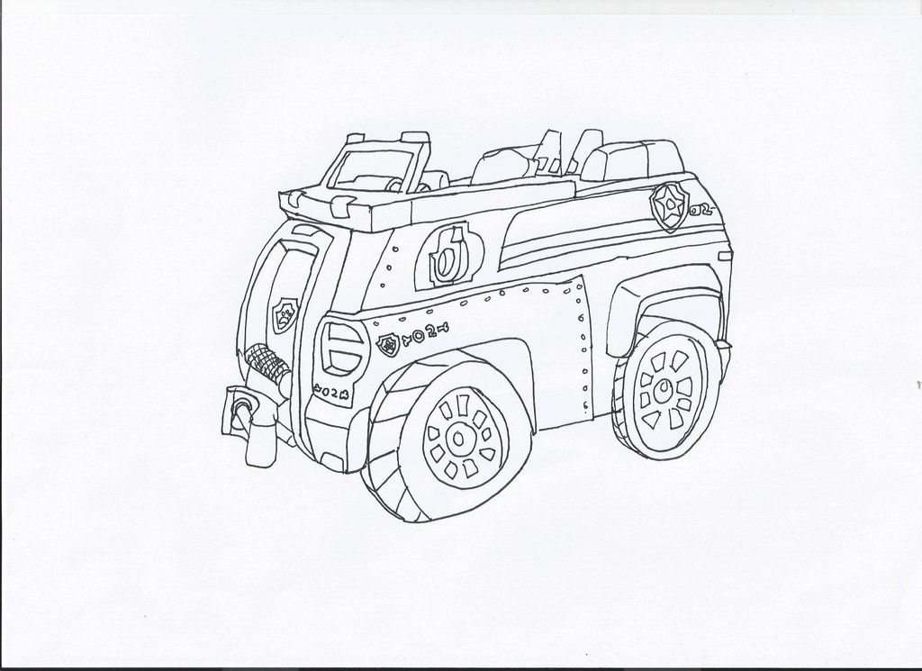 Paw Patrol Chase Coloring Pages Paw Patrol Chase\'s Car By Cartoons -  Coloring Home