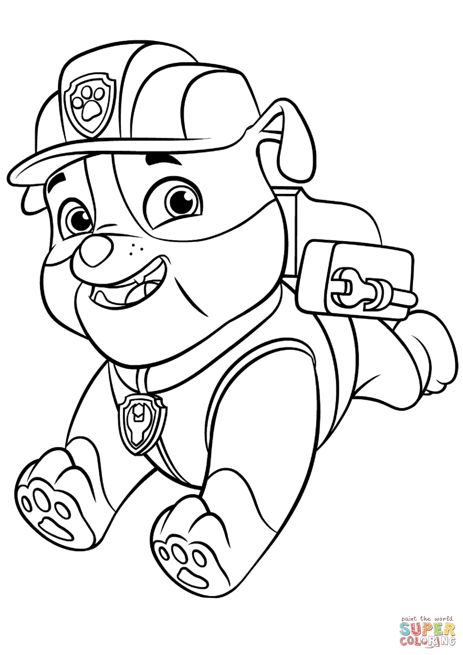 Paw patrol rubble with backpack coloring page free printable