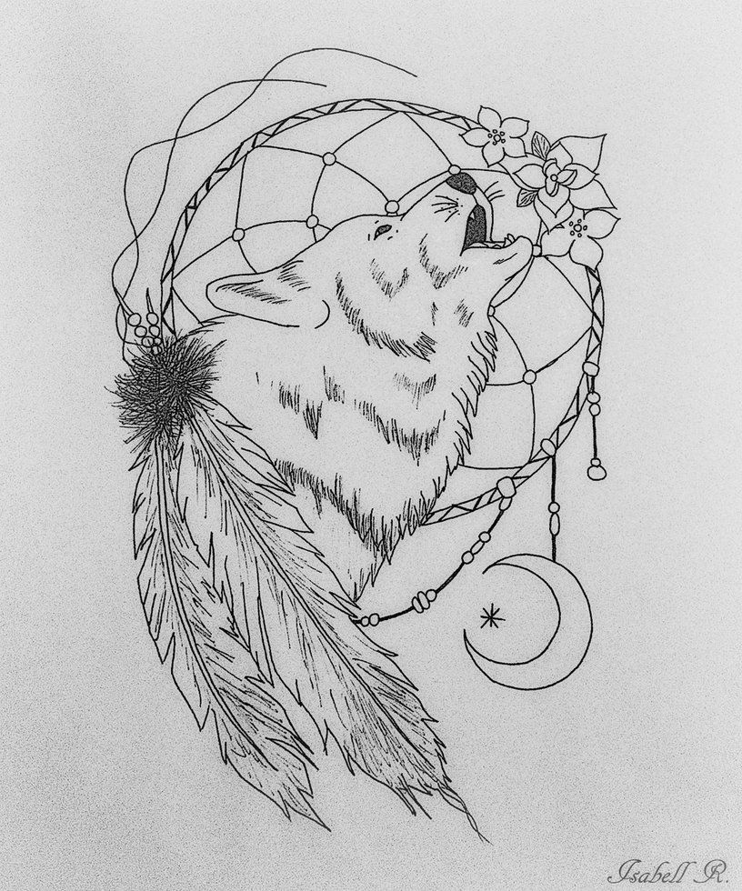 Coloring pages dream catchers - Pin Wolf Dreamcatcher Colouring Pages