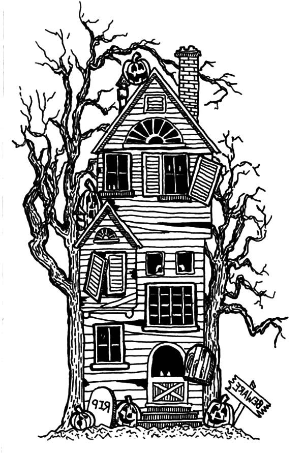 Cartoon haunted house coloring page coloring home for Haunted house coloring pages printables