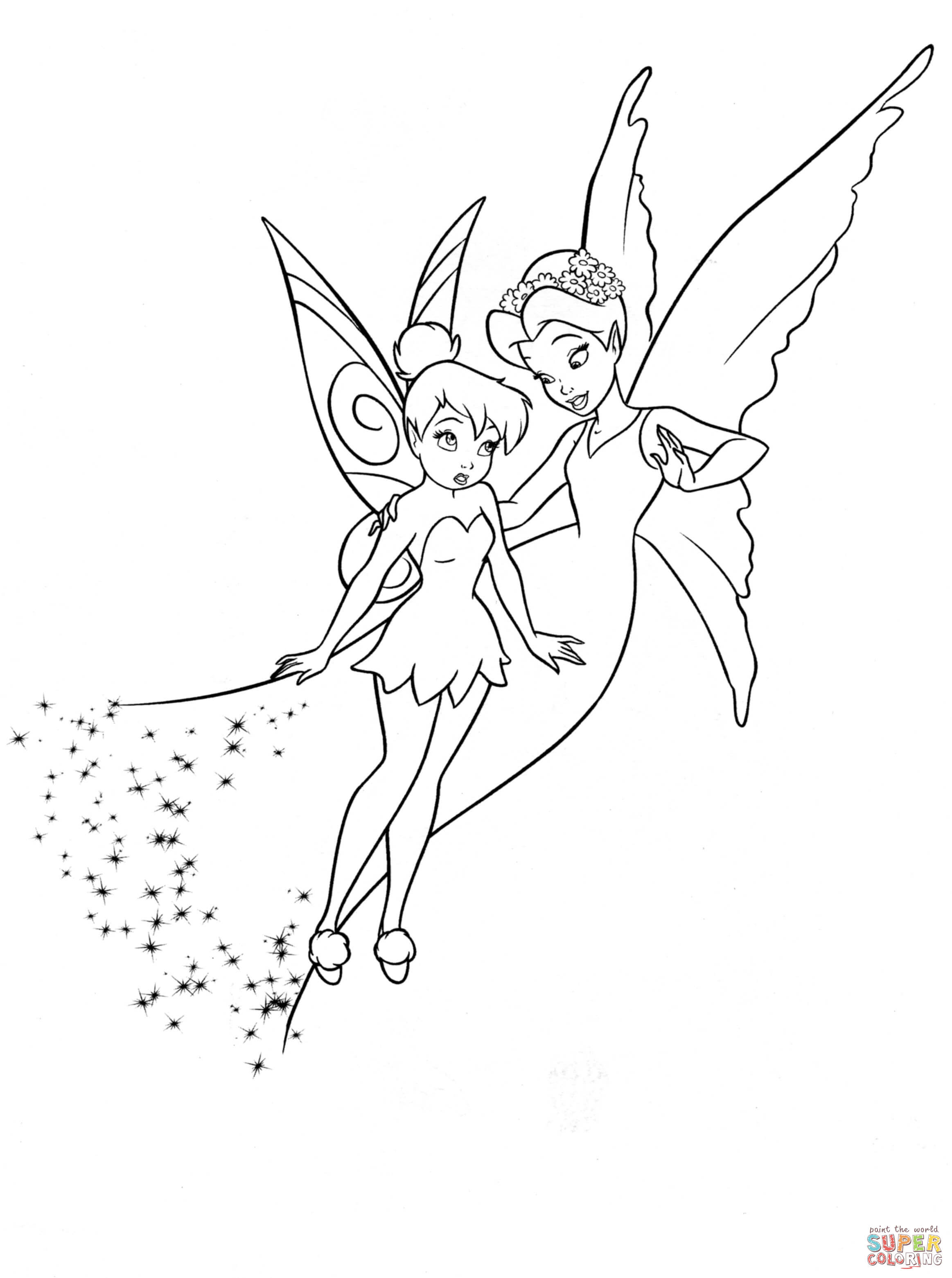 Shy Tinkerbell And Queen Clarion Coloring Page