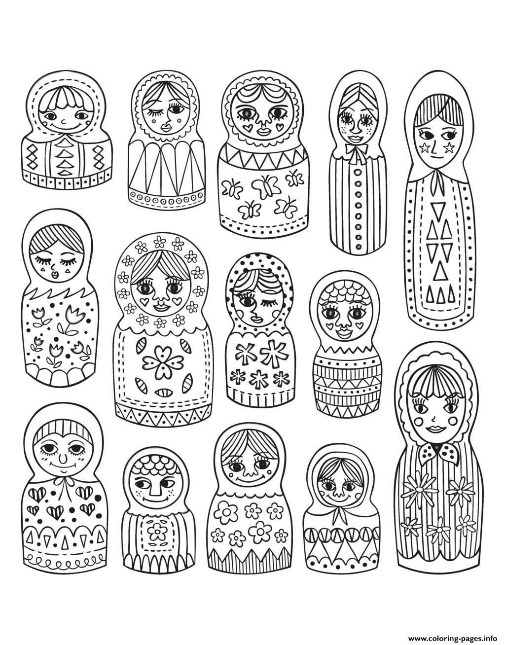 Print adult cute russian dolls Coloring pages