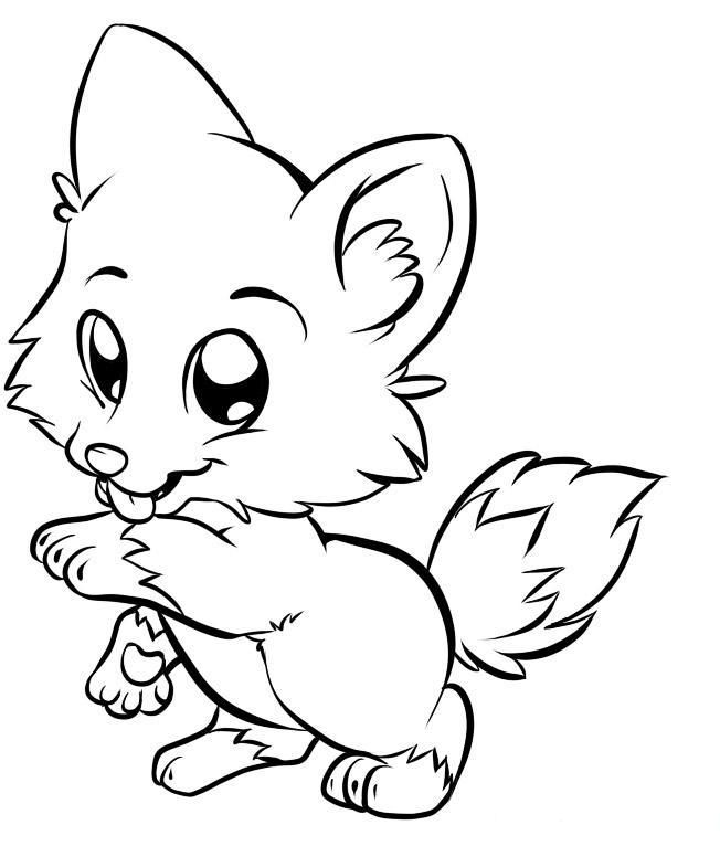 Cute White Fox Coloring Page Coloring Home
