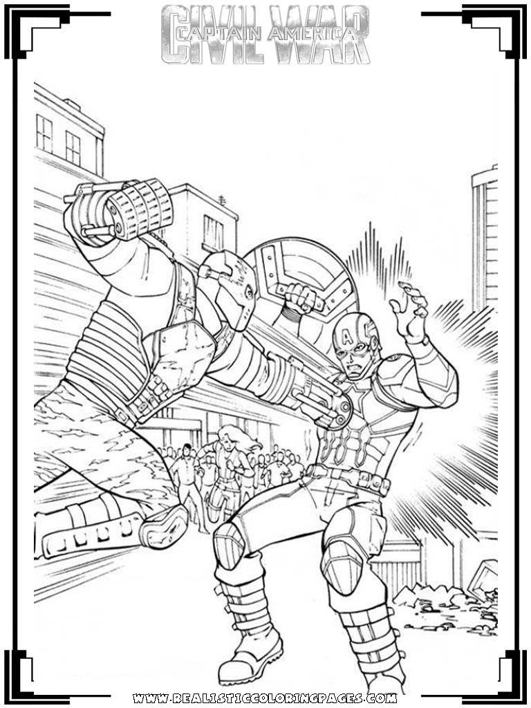 Captain America Fighting Bad Guy Coloring Pages Coloring