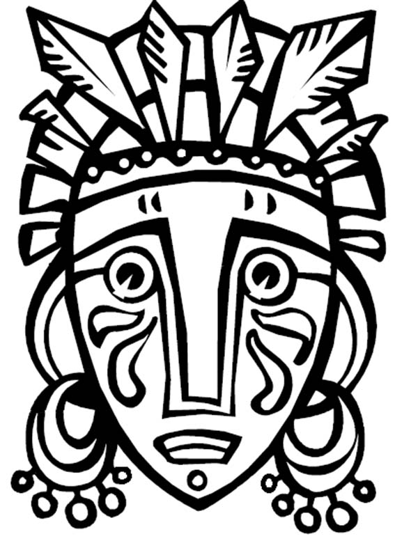 African Mask Coloring Page AZ
