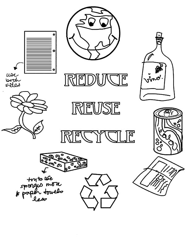 Reduce reuse recycle coloring pages coloring home for Recycling coloring pages
