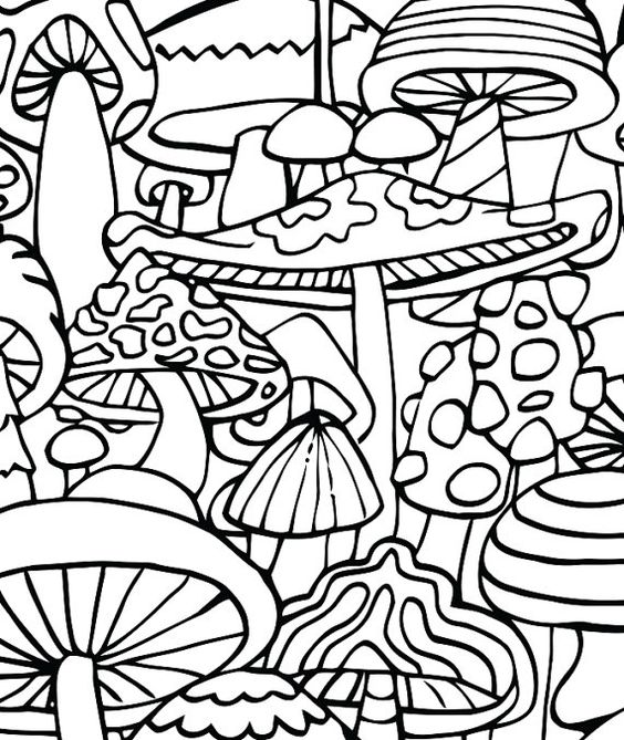 Trippy mushroom coloring pages coloring home for Printable psychedelic coloring pages