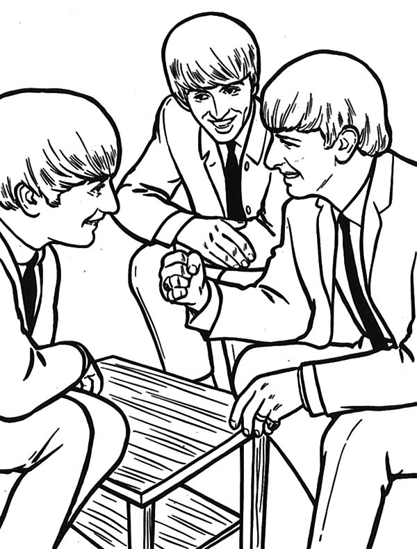The Beatles Talking in Livingroom Coloring Page