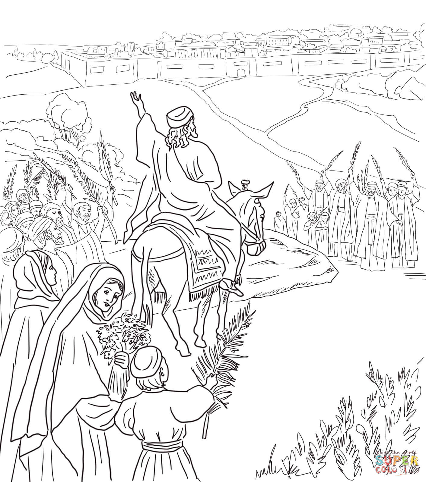 Triumphal Entry Into Jerusalem Coloring Page