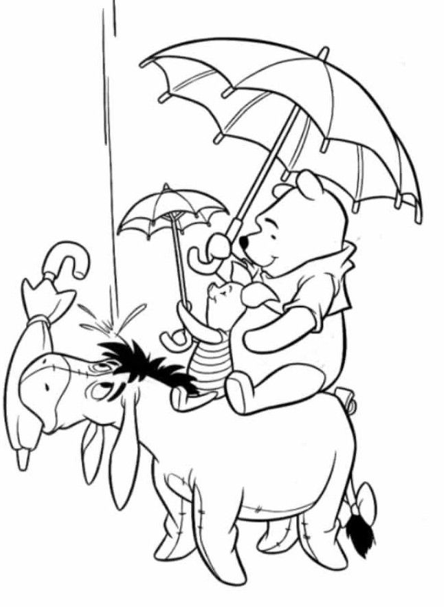 Boy Holding Umbrella Coloring Page