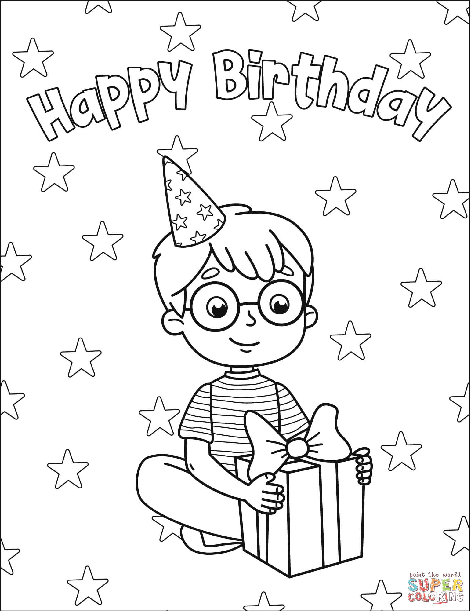 Happy Birthday with Boy coloring page | Free Printable Coloring Pages