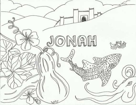 DIGITAL Jonah coloring page goes with Sundays drama 2018 | Etsy