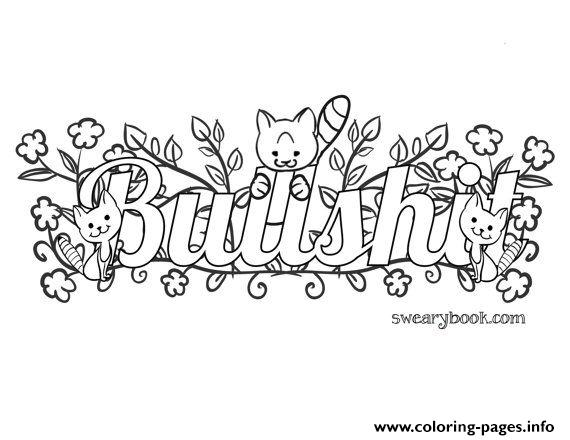 Bullshit Swear Words Word Adult Coloring Pages Printable - Coloring Home