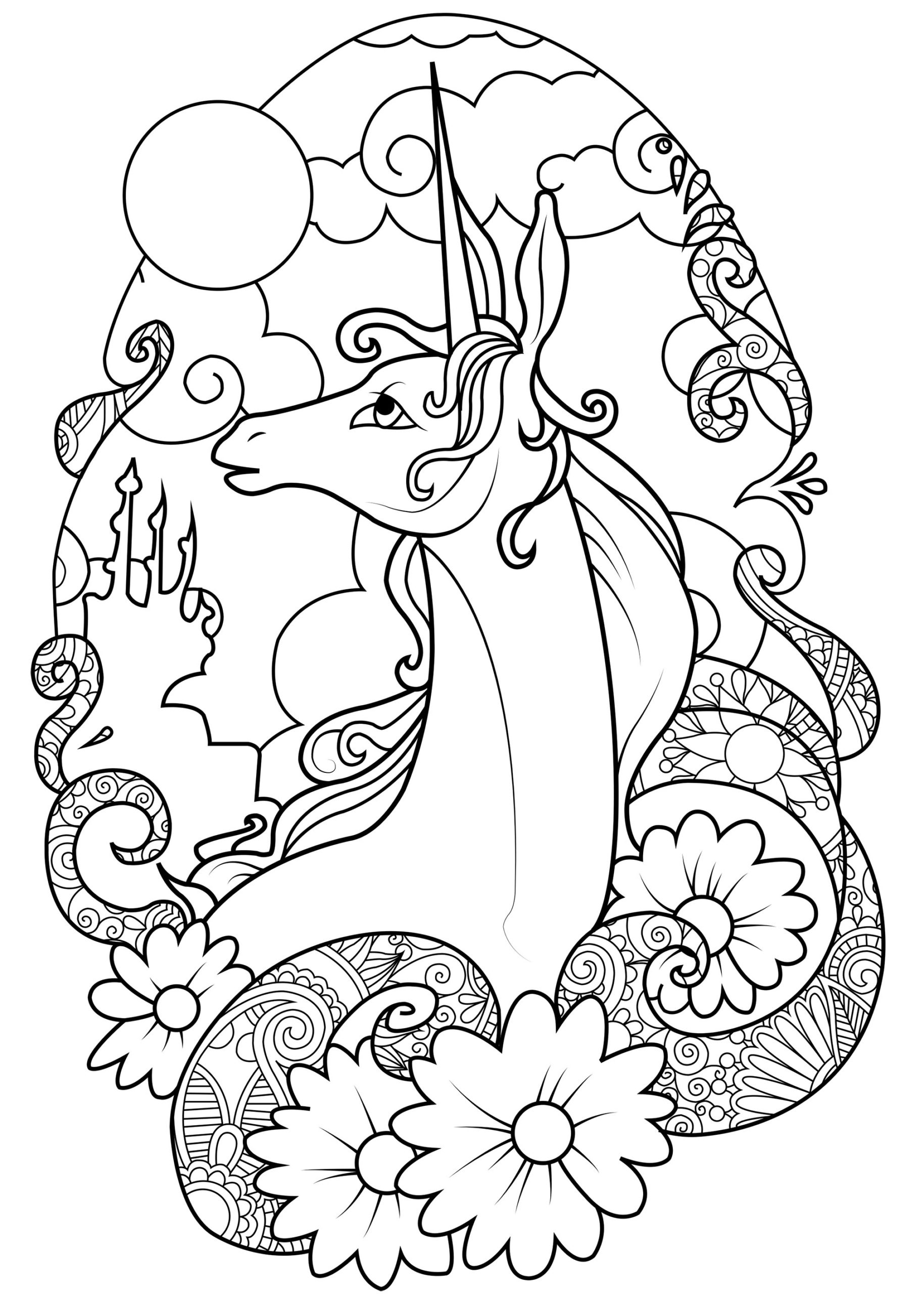 Coloring Pages : Fairy Unicorn Unicorns Adult Coloring Fairies And ...