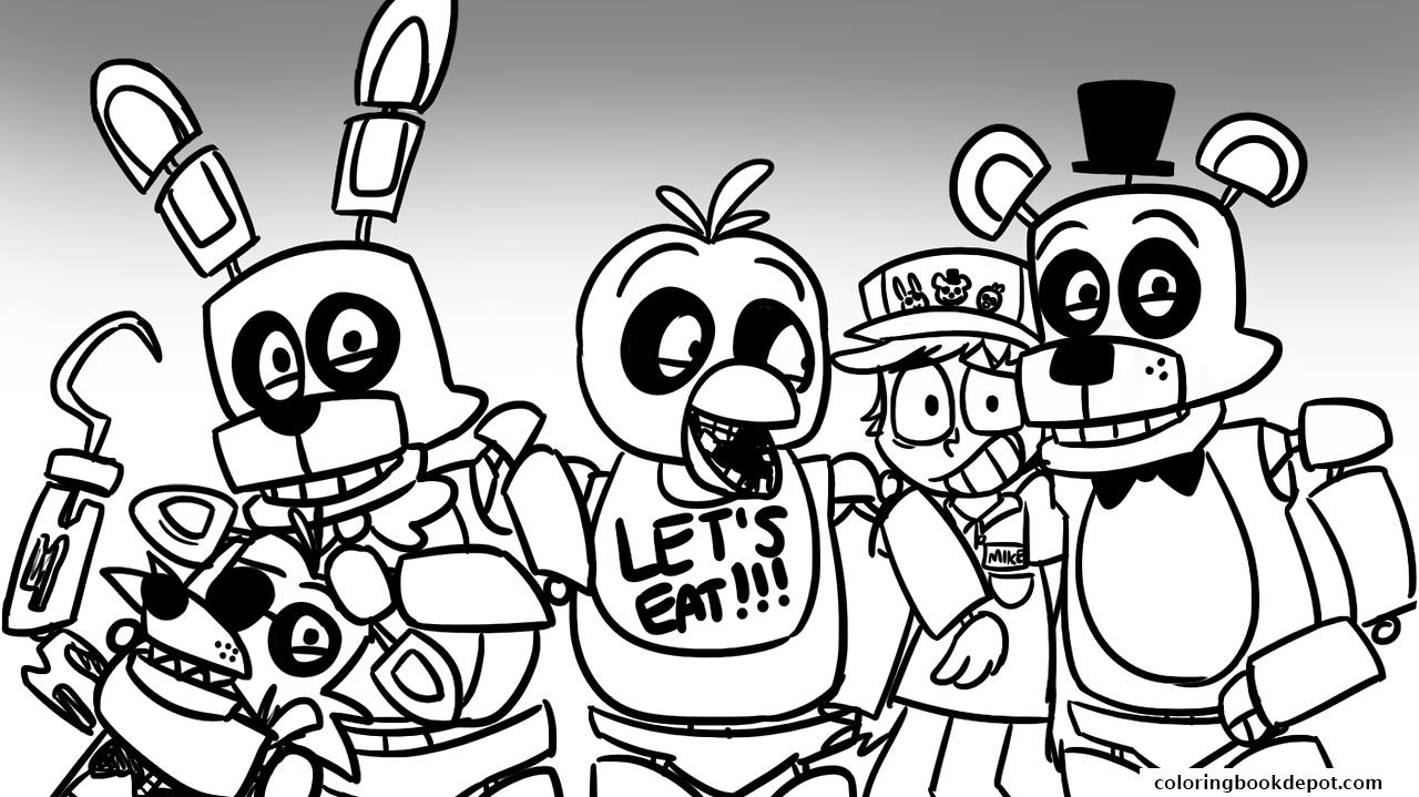 freddy s at five nights fnaf lets eat coloring pages
