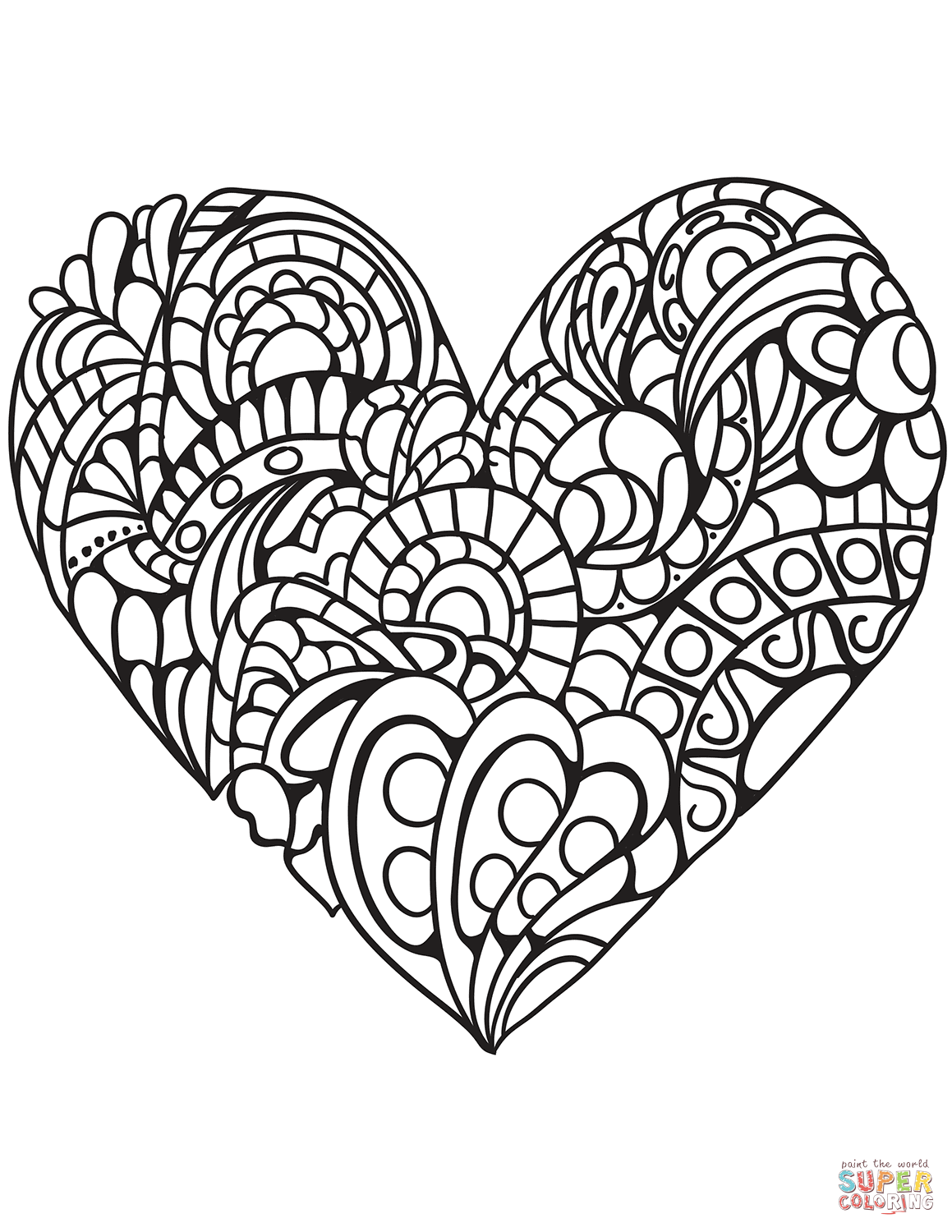 Zentangle Heart coloring page | Free Printable Coloring Pages