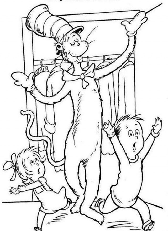 Dr Seuss The Cat In The Big Hat Coloring Page Coloringplus 3393
