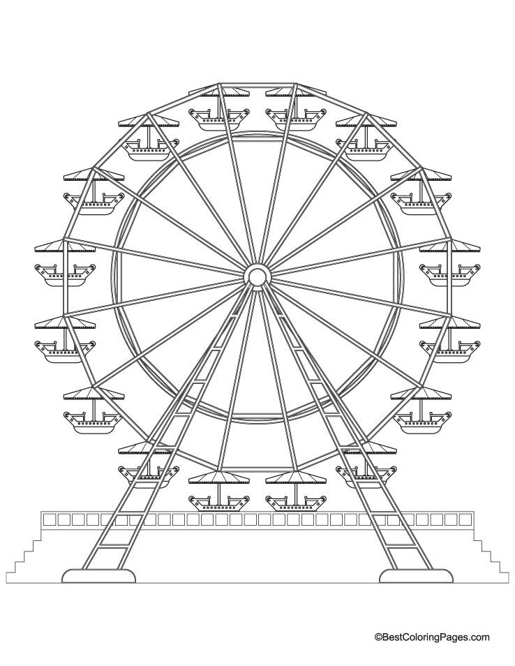 Ferris wheel coloring page coloring home for Wheel coloring page