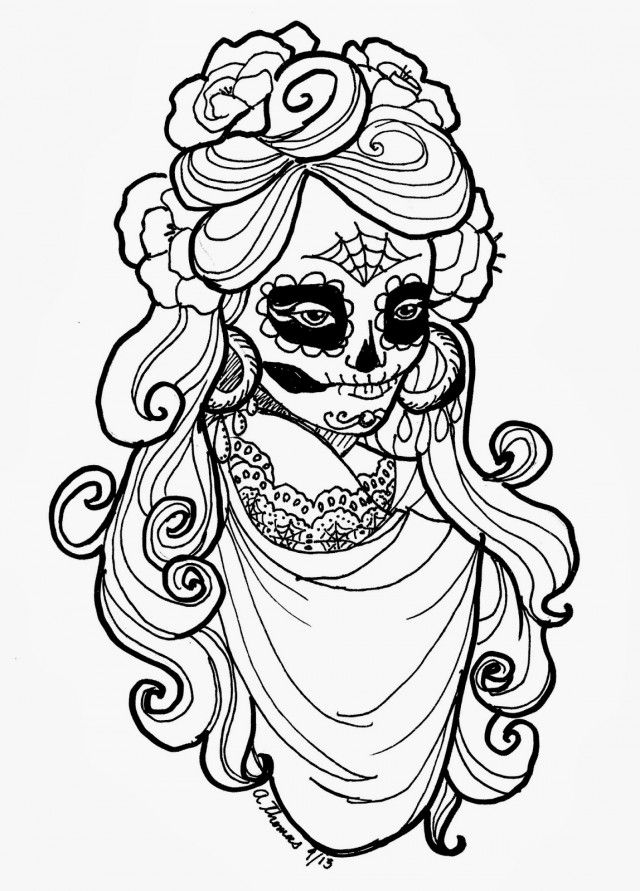Day Of The Dead Coloring Pages Coloring Home Day Of The Dead Skull Coloring Pages