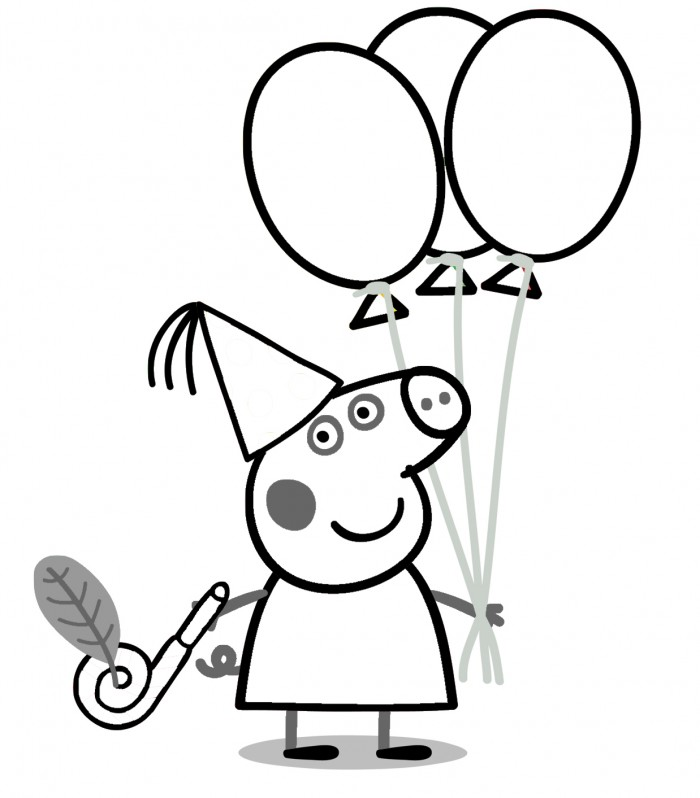 Peppa Pig Birthday Coloring Pages | 99coloring.com