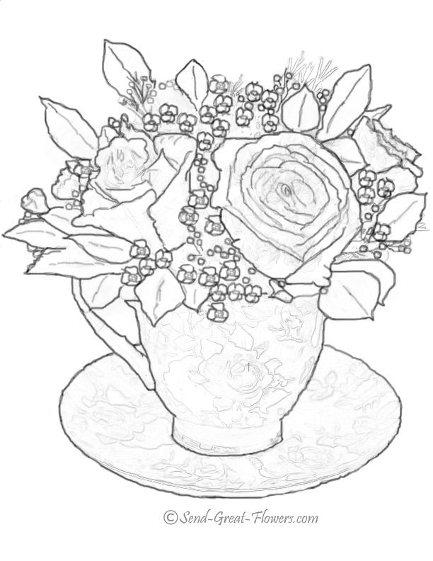 Teacup Coloring Page Coloring