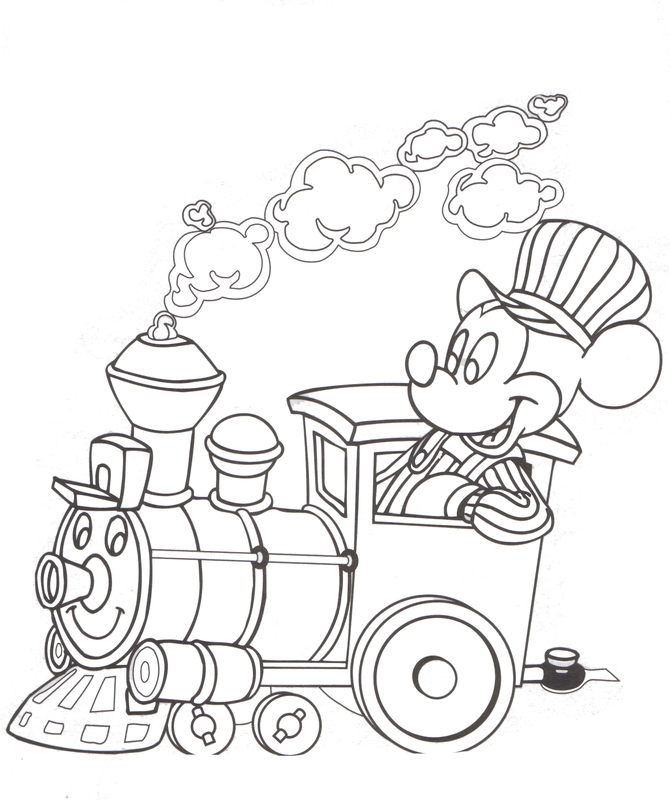 Walt Disney Railroad Mickey Mouse Disneyland Walt Disney World Coloring Pages