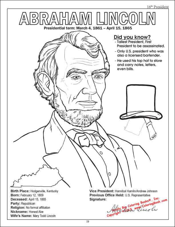 abraham lincoln free printable coloring pages - photo #37