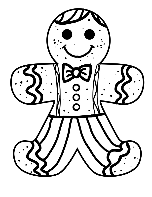 Gingerbread Man Color Page AZ Coloring Pages
