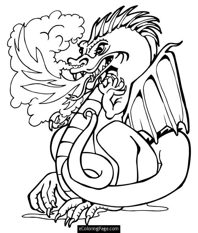 Fire Breathing Dragon Colouring Pages Angry Fire Breathing Dragon