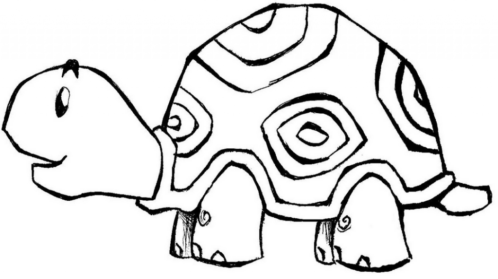 A Small Turtle Smile Coloring Pages For Kids | Easy ...