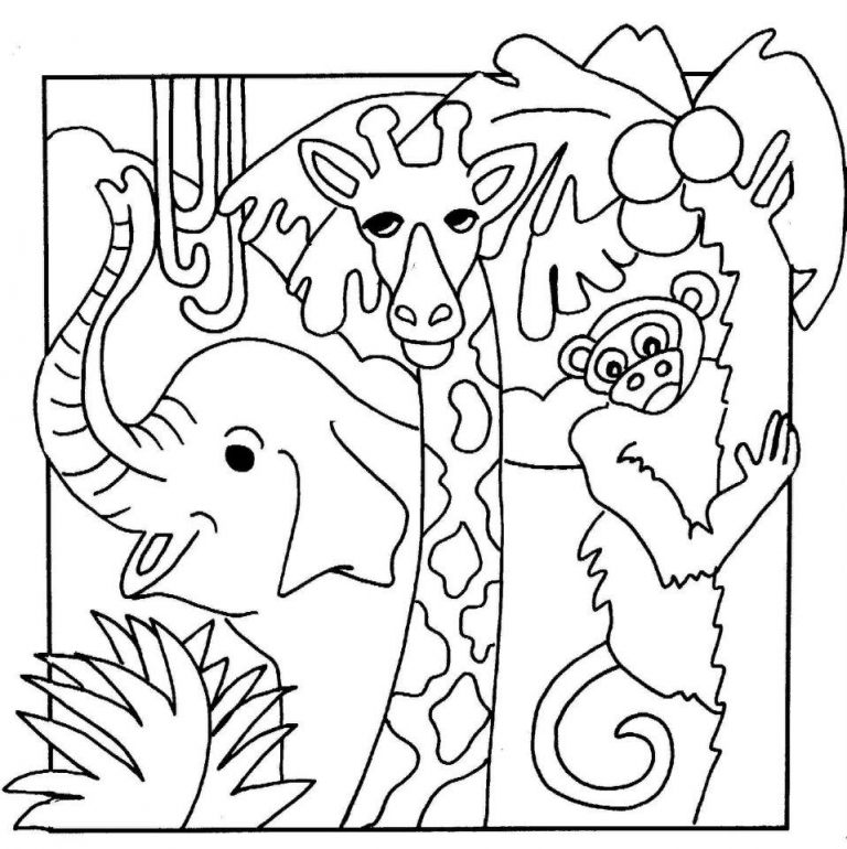 Jungle Animals Coloring Pages - AZ Coloring Pages