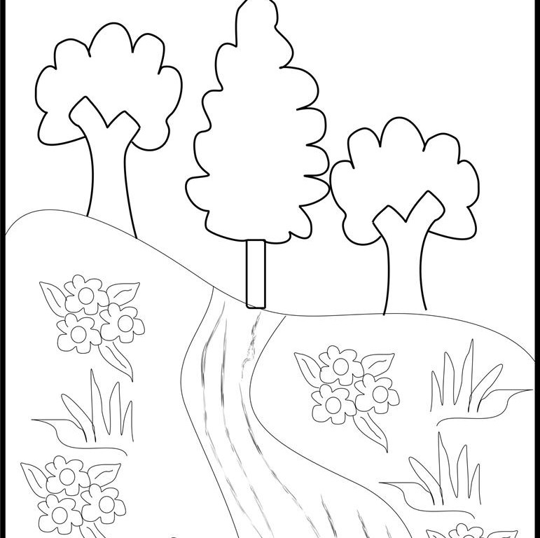 free scenery coloring pages - photo#39