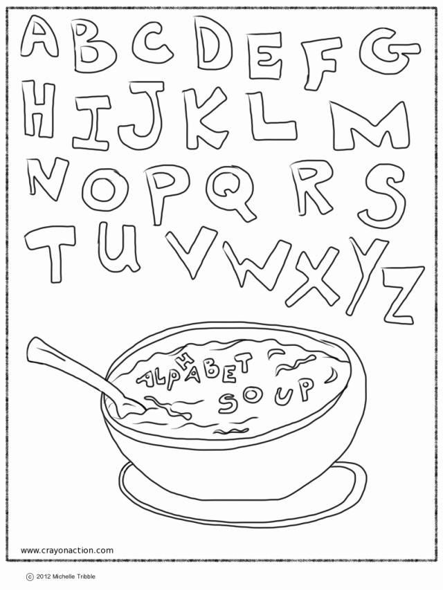 Alphabet Soup Coloring Page