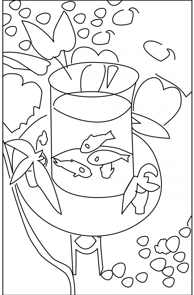 Fish bowl coloring page az coloring pages for Fish bowl coloring pages