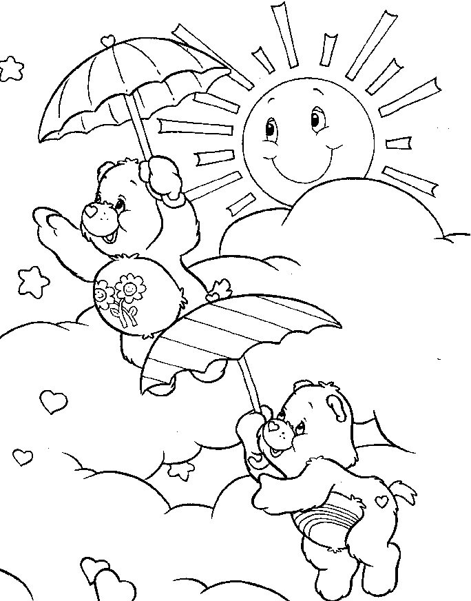 Line Drawing Sunny Day : How to draw a care bear az coloring pages