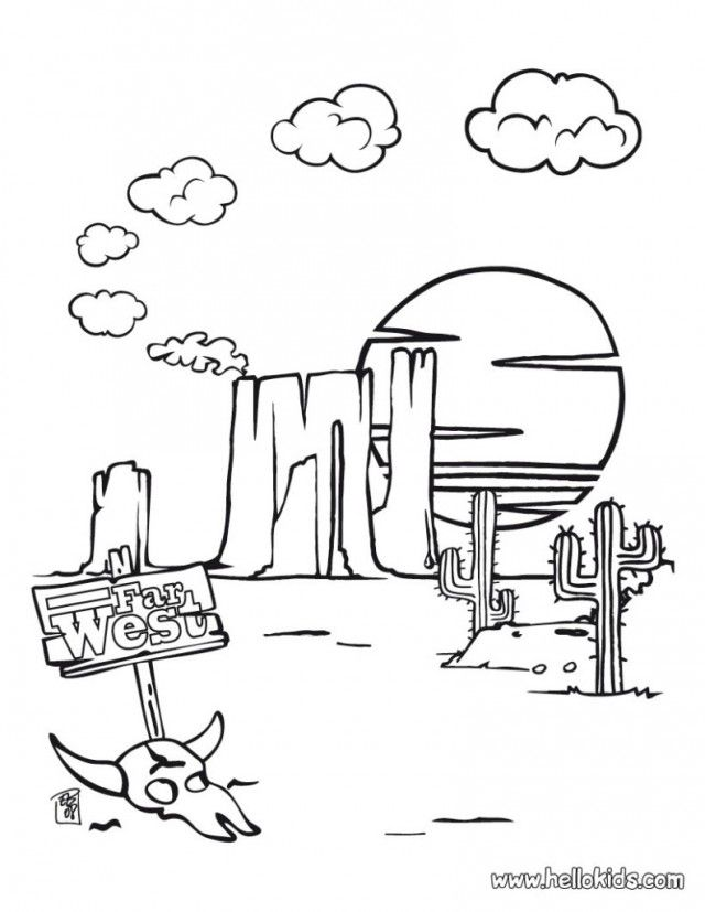 Desert Landscape And Animal Coloring Page For Kids Free Coloring